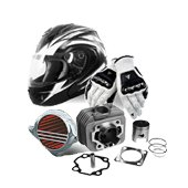 Spare parts, outfits and accessories for bicycles and motorcycles